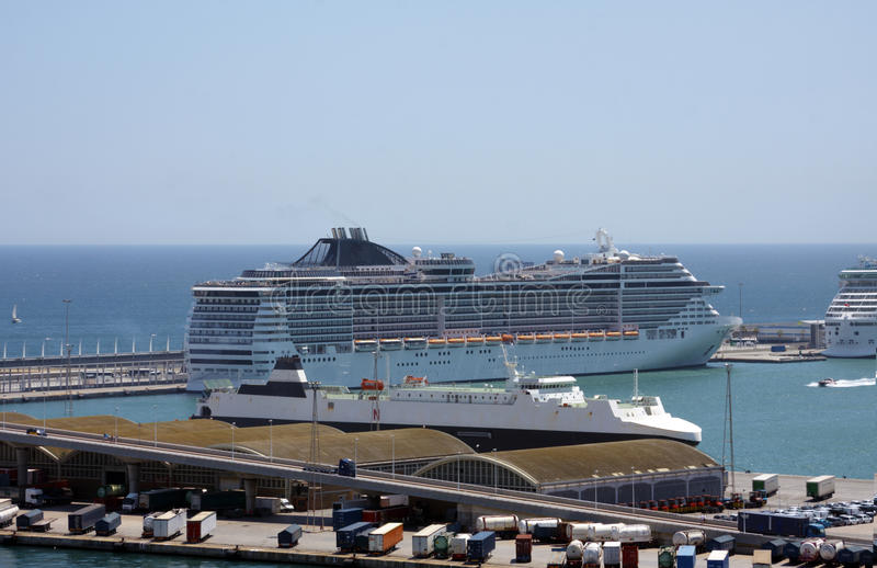 Download Cruise ship in the harbour stock photo. Image of metal - 27478334