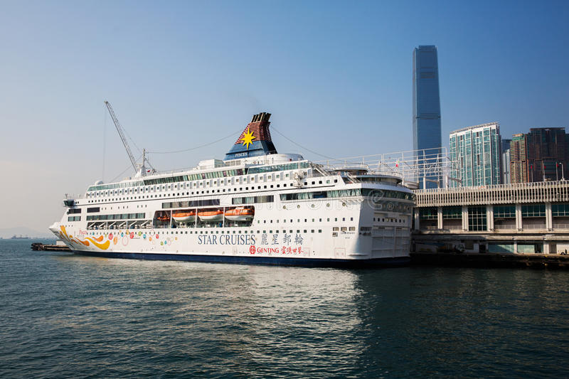 Cruise ship in Hong Kong stock images