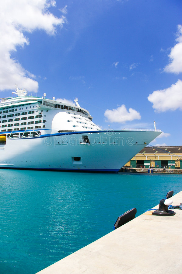 Cruise ship I. Cruise ship anchored in a caribbean pier royalty free stock image