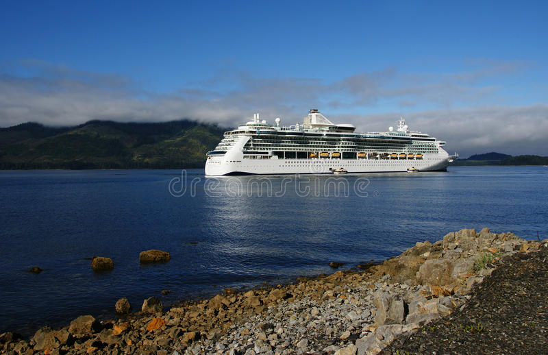 Cruise Ship in Icy Strait Point, Alaska stock photography