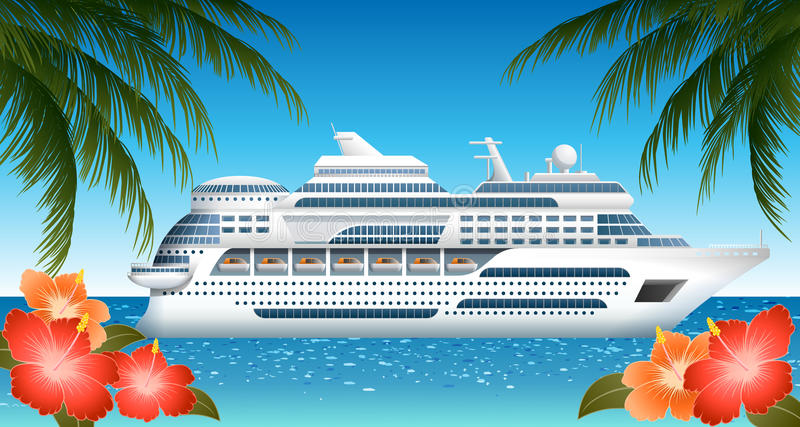 Cruise ship. Illustration of cruise ship, with palms and hibiscuses royalty free illustration