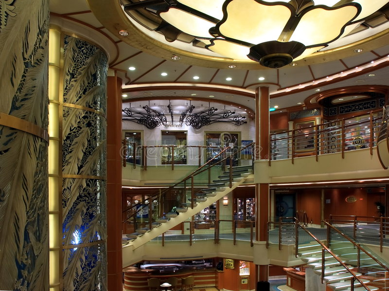 Cruise ship indoors stock photography