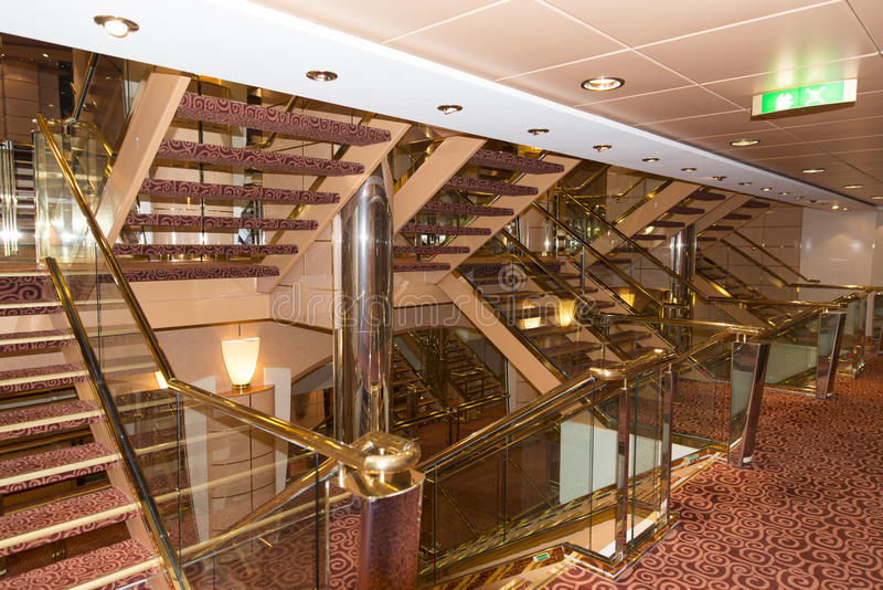 Cruise ship interior staircase stock photography