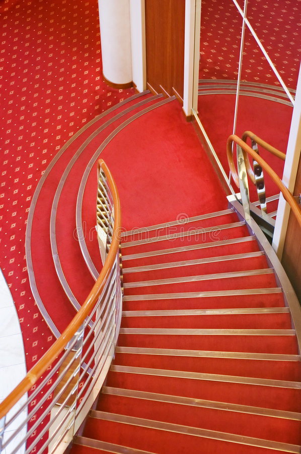 Cruise ship interior stairs royalty free stock photo