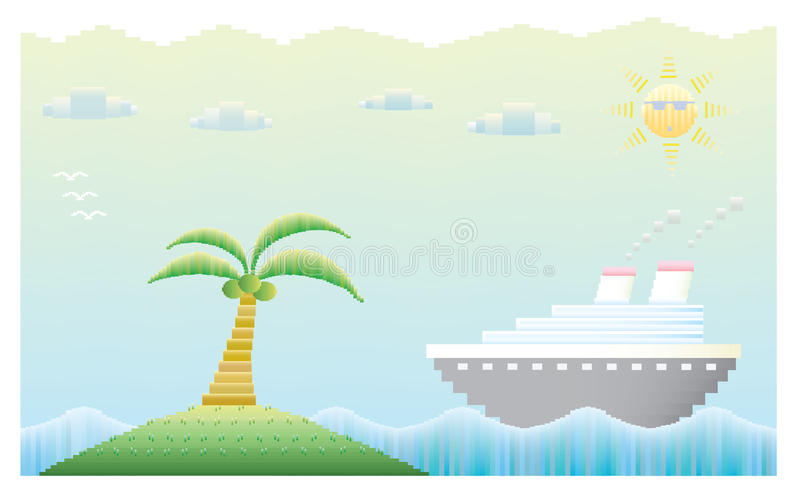 Cruise ship with island stock photo