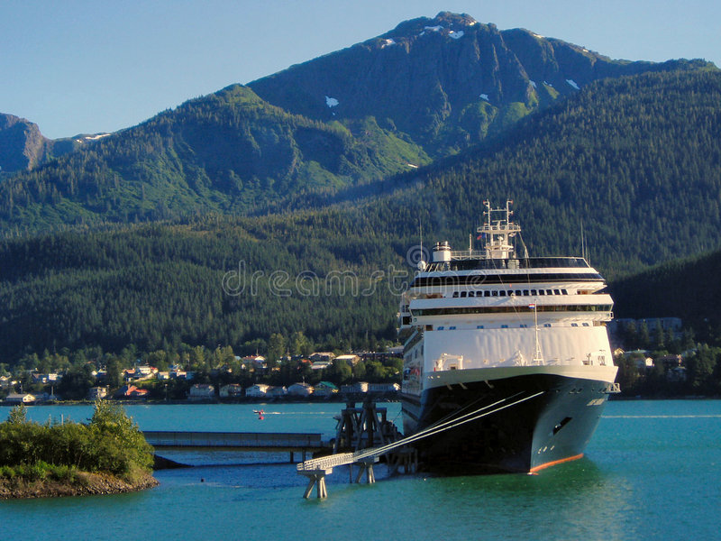 Cruise ship in Juneau, Alaska harbor stock image