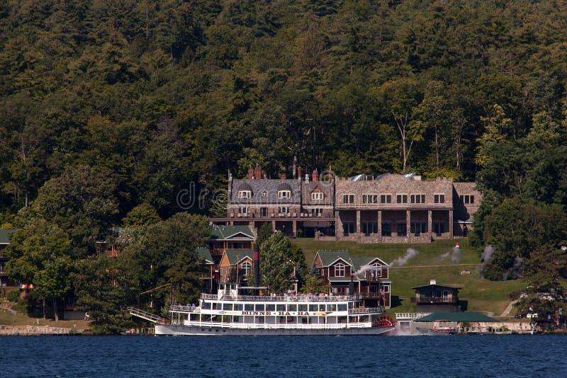 Cruise ship on the Lake George stock photos