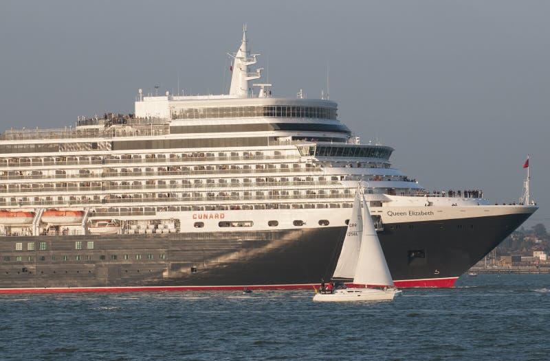 Cruise ship leaving port of Southampton UK royalty free stock images