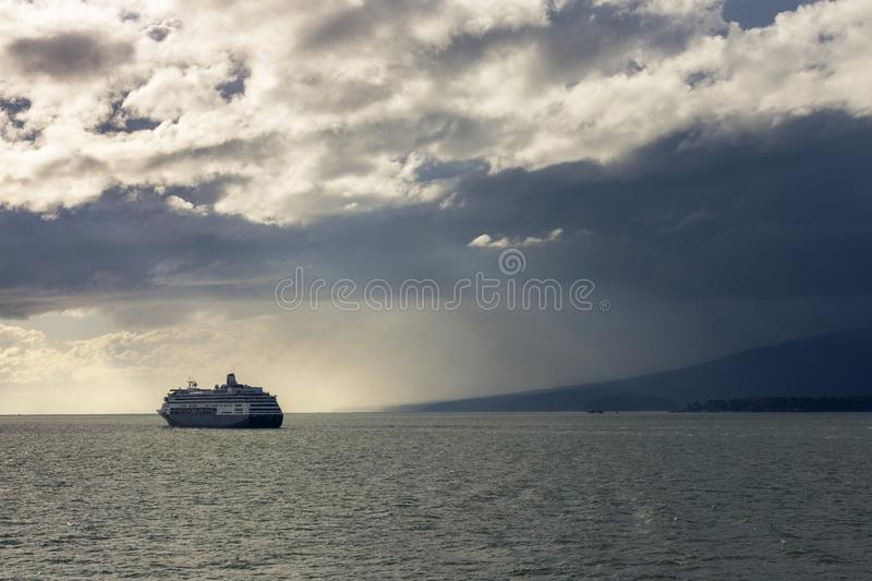 Cruise Ship Liner Pacific Northwest Pacific Ocean Dramatic Sky Sunset Storm BC Canada royalty free stock photos