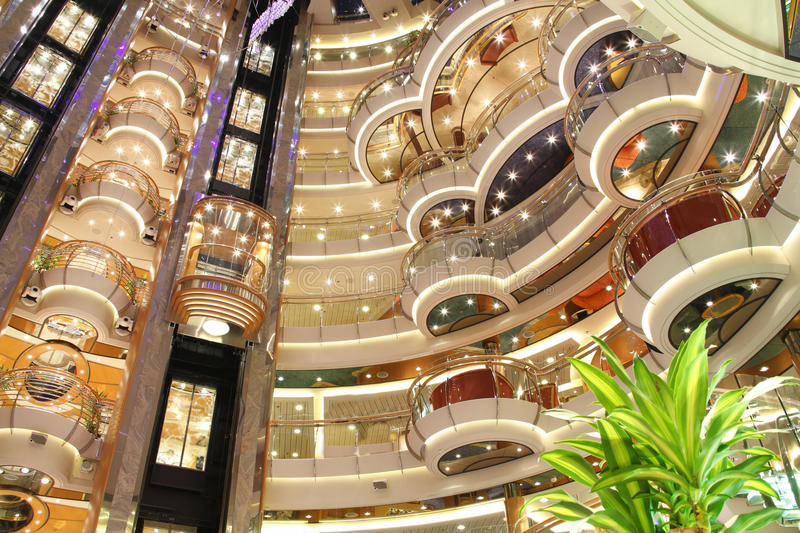 Cruise ship luxury interior stock photography