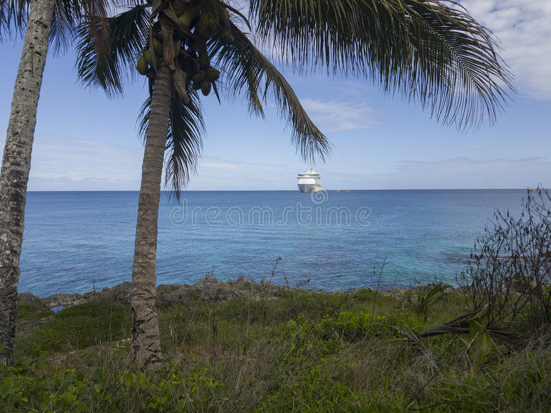 Cruise Ship, Mare, New Caledonia, 2017 stock images