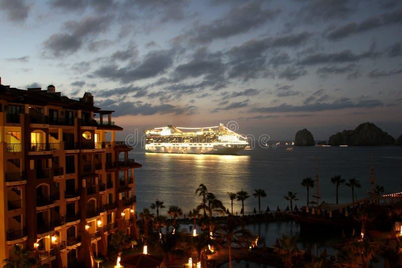 Cruise Ship Mexico. A Cruise ship coming into port on the Sea of Cortes at dawn stock photography