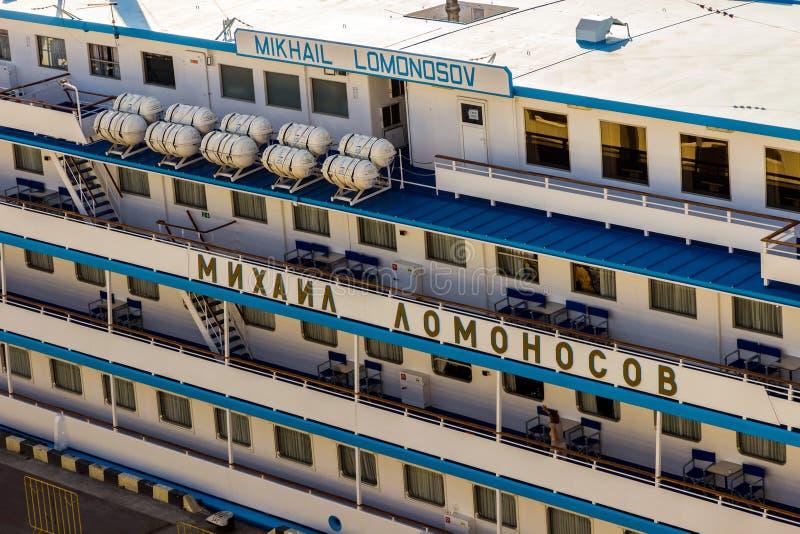 Cruise ship MIKHAIL LOMONOSOV. ODESSA, Ukraine - August 18: Cruise ship MIKHAIL LOMONOSOV came into the port of Odessa, Ukraine on August 18, 2013. Odessa is the royalty free stock image
