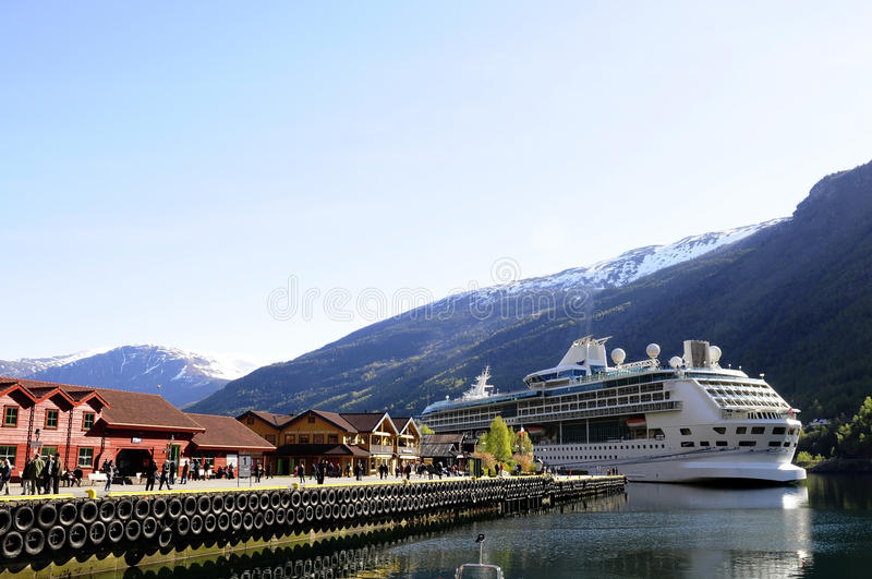 Travel Europe, Cruise Ship Moored, Norway, Holidays royalty free stock photography