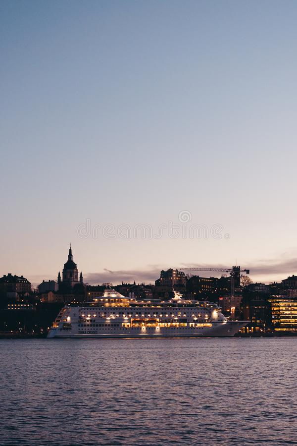 Cruise ship MS Birka at port waiting to depart on a new cruise as the sun is going down. Editorial 03.26.2019 Stockholm Sweden Cruise ship MS Birka at port stock photo