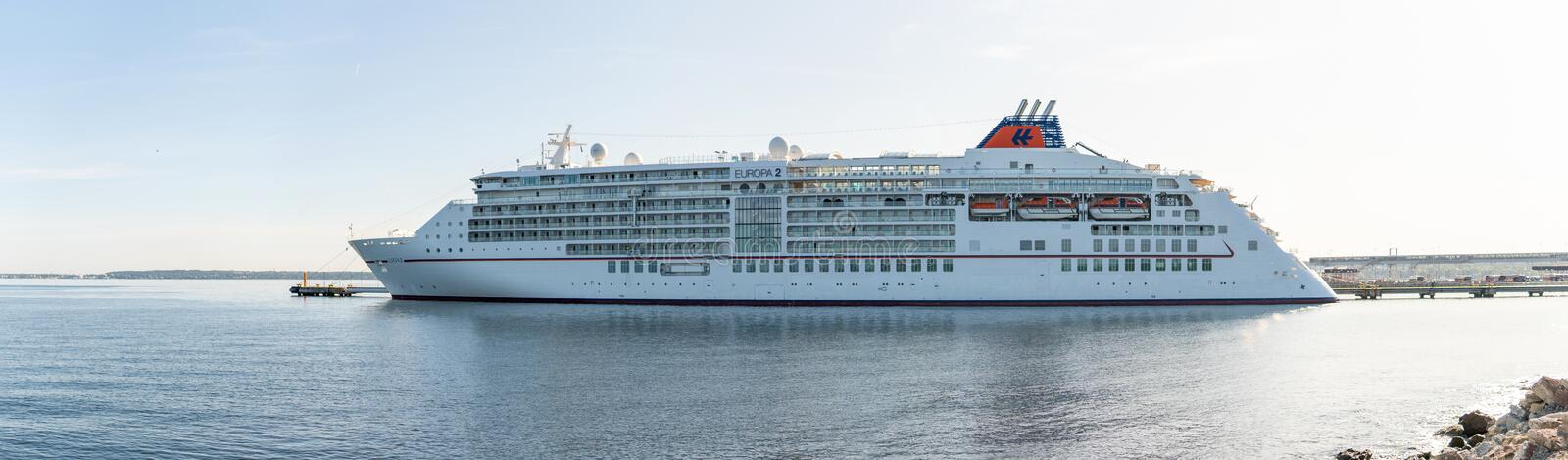 Cruise ship MS Europa 2 of the  Hapag-Lloyd Cruises Fleet docked in Vanasadam royalty free stock photography