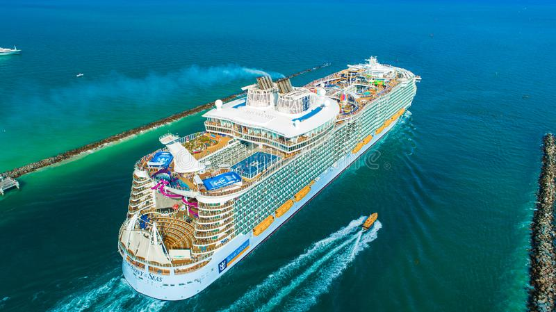 Cruise ship MS Symphony of the Seas. The largest in the world. Miami Beach. Florida. USA. Symphony of the Seas is an Oasis-class cruise ship owned and operated stock photo