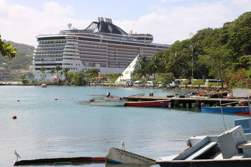 Cruise ship MSC Fantasia in Castries, St. Lucia royalty free stock photo