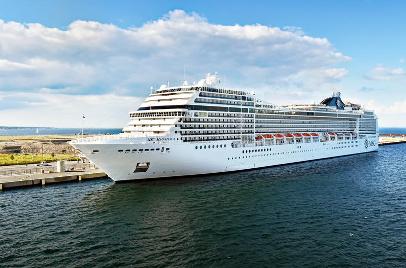 Cruise ship MSC Magnifica of MSC Cruises. Copenhagen, Denmark - July 15, 2017: The cruise ship MSC Magnifica of MSC Cruises is moored at the Ocean Quay Cruise royalty free stock images