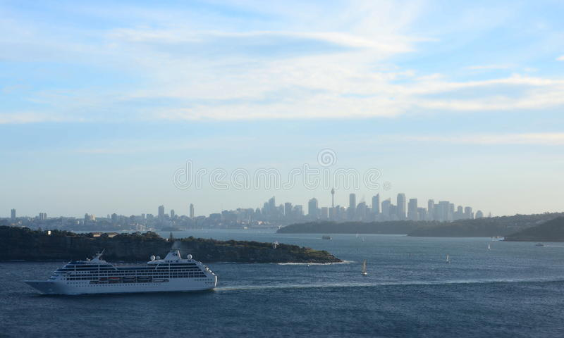 Cruise ship navigating into the South Pacific Ocean. stock images