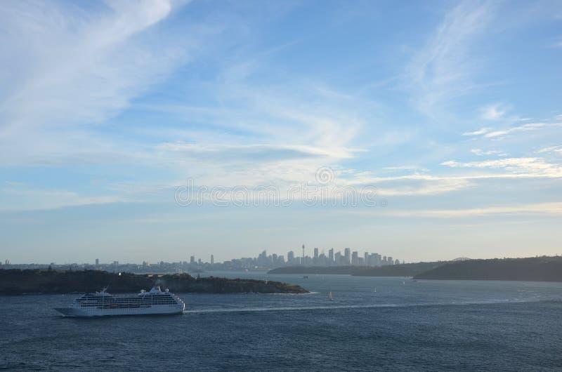 Cruise ship navigating into the South Pacific Ocean. royalty free stock photos