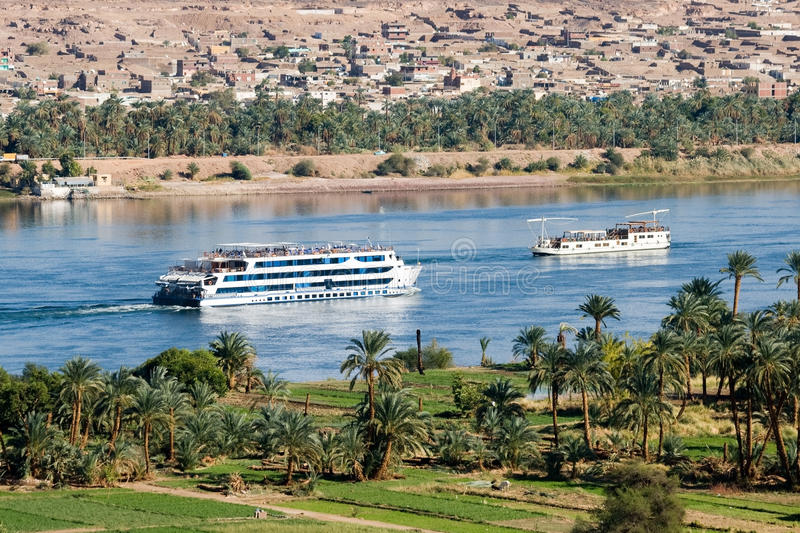 Cruise ship on Nile River stock image