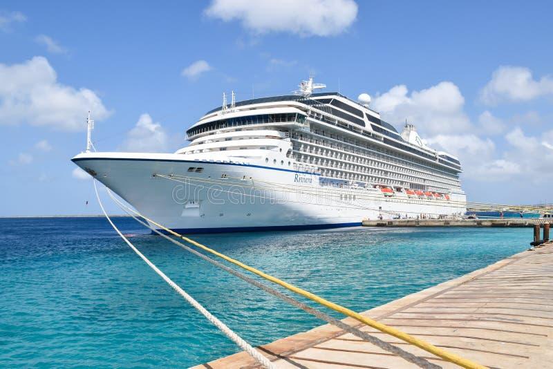 Cruise Ship Oceania Riviera in Bonaire Caribbean. KRALENDIJK, BONAIRE : MAR 25, 2016 : Cruise Ship Riviera (Oceania Cruises) docked in port of Kralendijk in royalty free stock photos