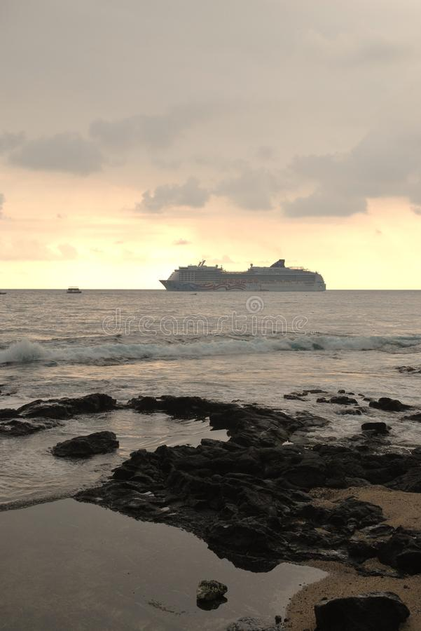 A cruise ship off Hawaii royalty free stock photography