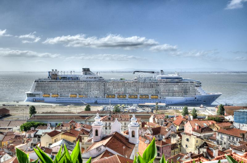 Cruise ship offshore stock photography