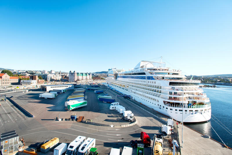 Cruise ship in Oslo port stock photography