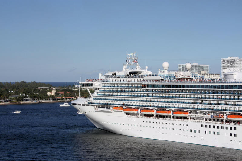 Cruise ship parked in Fort Lauderdale. Port of Fort Lauderdale with a cruise ship parked royalty free stock photo