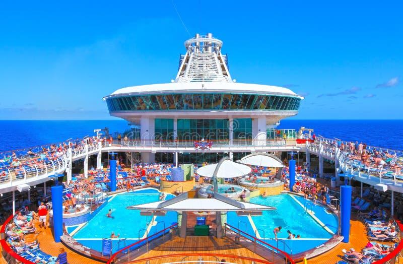 Cruise ship pool deck stock photo