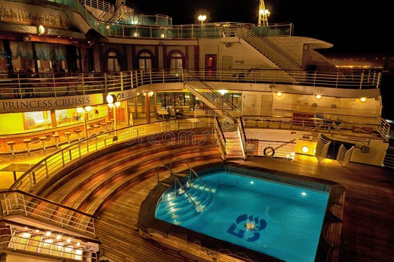Cruise Ship Pool at Night stock image