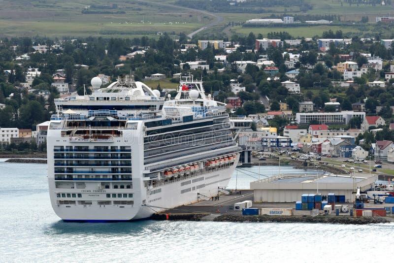 Cruise ship in seaport of Akureyri - Iceland royalty free stock photography