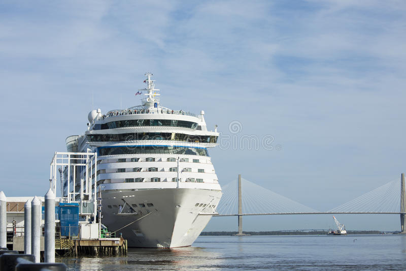 Cruise ship in port in Charleston, South Carolina royalty free stock image
