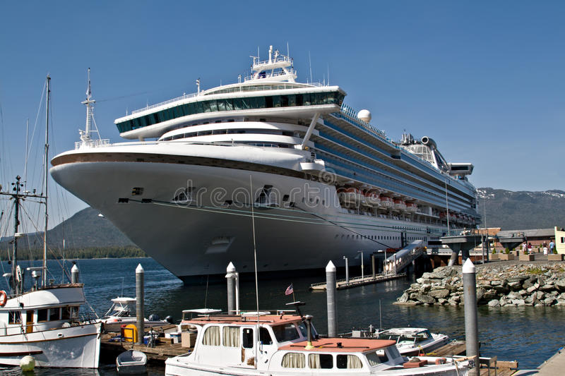 Cruise Ship in Port in Ketchikan, Alaska royalty free stock photo