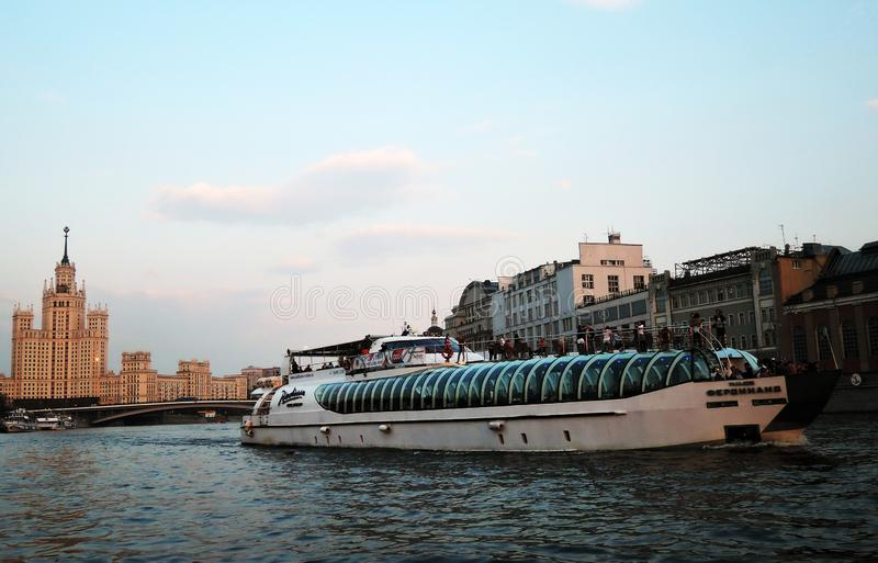A cruise ship of Radisson Royal sails on the Moscow river. royalty free stock photos