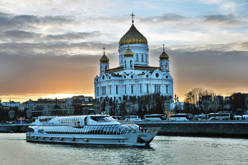A cruise ship of Radisson Royal sails on the Moscow river. royalty free stock image