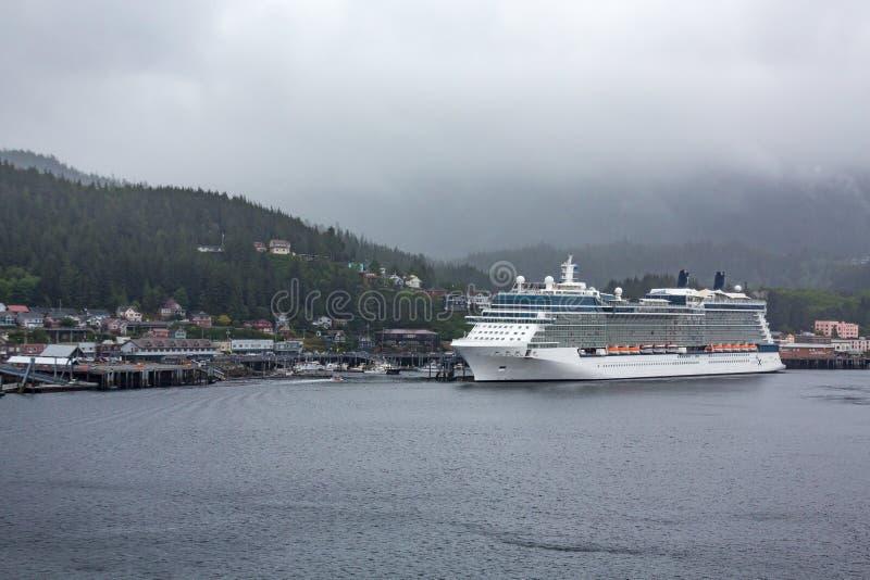 Cruise Ship in Rainy Alaska stock image