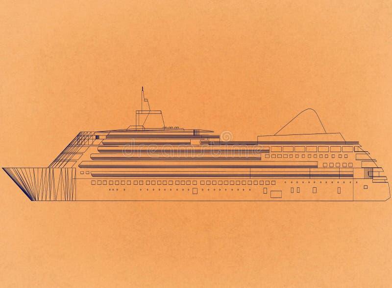 Cruise ship - Retro Architect Blueprint stock illustration