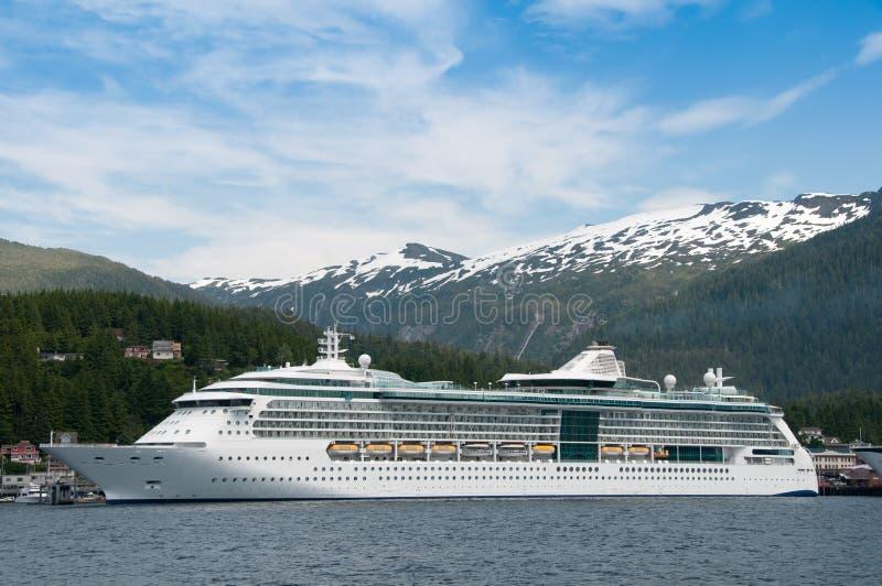 Cruise ship sailing in Alaska royalty free stock photo