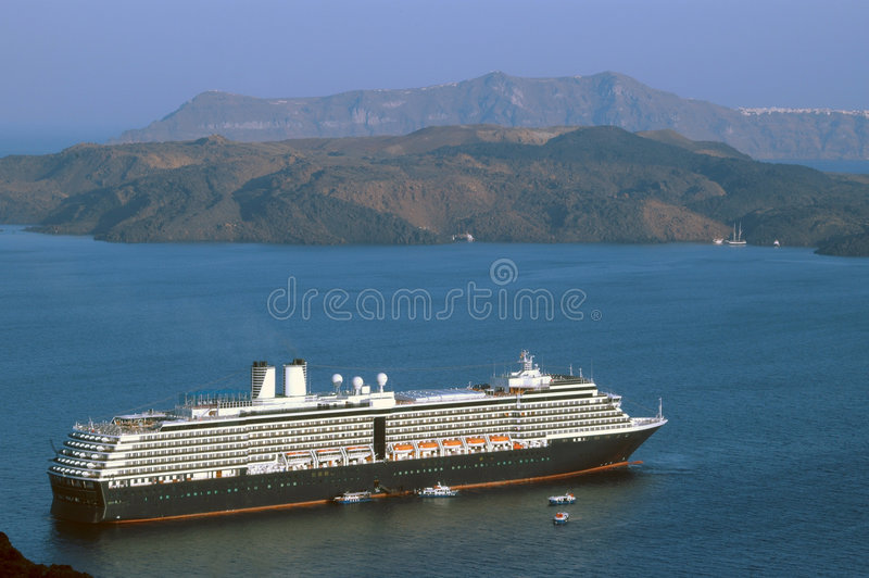 Cruise Ship Santorini Royalty Free Stock Images