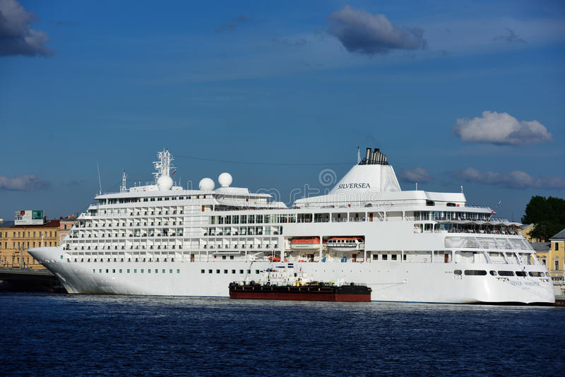 Cruise ship Silver Whisper in St. Petersburg, Russia stock image