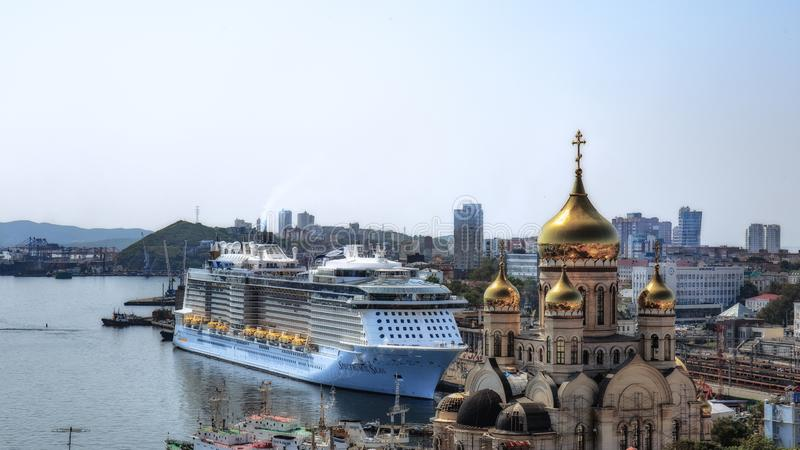 Cruise ship `Spectrum of the Seas` for the first time moored in the Russian port of Vladivostok stock image