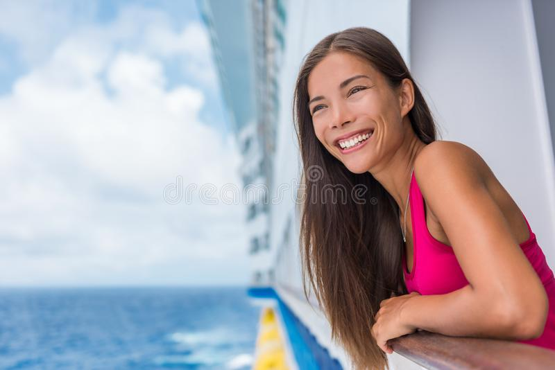 Cruise ship summer vacation. Travel woman tourist happy on luxury cruise getaway smiling at her holidays. Summer european stock image