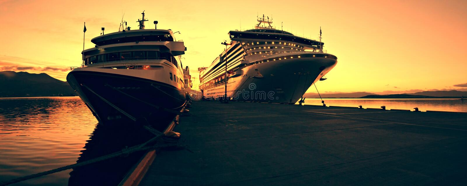 Download Cruise ship at Sunris stock image. Image of relaxation - 14547389