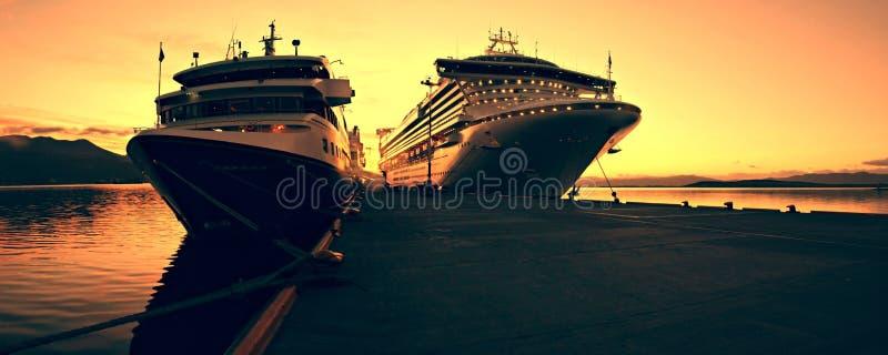 Cruise ship at Sunris royalty free stock images