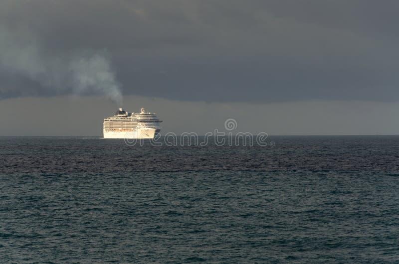 Cruise ship at sunrise royalty free stock image