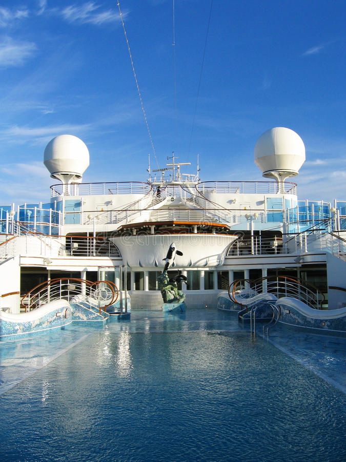 Cruise ship - Swimming pool at the upper deck stock image