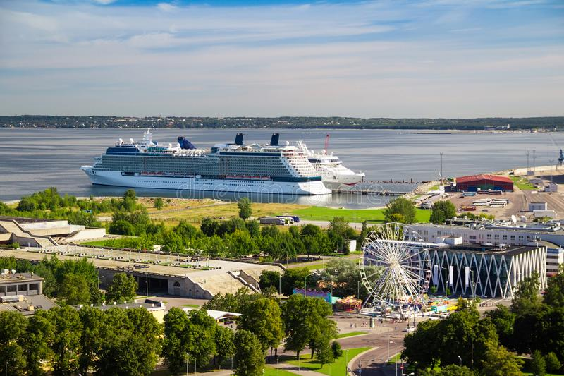 Cruise ship in Tallinn harbor, Estonia. stock photography